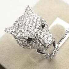 Women's Genuine Solid 925 Sterling Silver PANTHER Cubic Cocktail Ring HUGE BIG