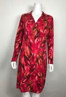 J. Jill Wearever Collection Women's Dress Stretch Faux Wrap Pink Floral Sz Small