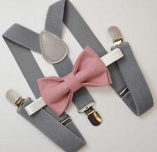 Kids Boys Mens Gray Suspenders & Dusty Rose Pink Bow tie Infant - ADULT SET