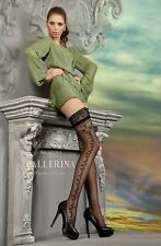Ladies Ballerina 216 Black Luxury Patterned Lace top Hold Ups S/M L/XL Hosiery