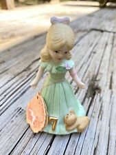 Vintage Enesco Growing Up Birthday Girl Figurine 7 Seven Years Blonde Series