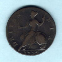 Great Britain.  1734 George 11 - Halfpenny..  Fine