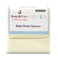 6 xCREAM supreme quality Muslin Squares 100%cotton NEW