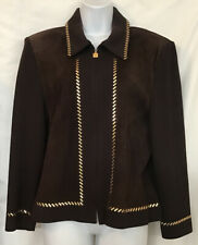 St John Collection Jacket Brown Knit Suede ZIP Up Front Gold Pyette Trim Size 14