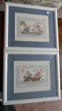 2 Framed Cross Stitch Its Raining & Row Your Boat Nursery Baby 15x13 Jca New