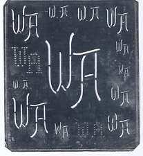 Große Monogramm Schablone WA Jugendstil Weißblech 16,5 x 18 cm Weissstickerei