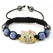 10mm*4 Disco Balls Kelly Hello Kitty Premium Crystal Shamballa Bracelet US ship