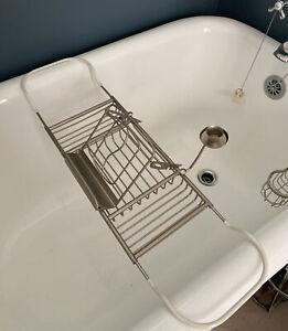 Bathtub Tray Bath Brushed Nickel Rack Caddy Extending Sides Reading Book Holder