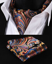 RF403M Orange Blue Floral Silk Cravat Ties Casual Scarves Ascot Handkerchief Set