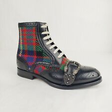 Gucci Men's Black Leather Red Green Checkered Wool Boots 7.5/US 8 483956 1046