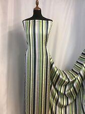 "NEW 100% Silk Satin Multi Colour Stripes Print Fabric 55"" 141cm Guchi Gabana She"