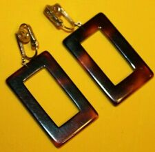 Signed Lucite Dangle Earrings Rare Style-Wow Beautiful 1 1/2 Inch Crown Trifari
