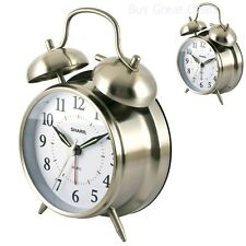 Vintage Analog Alarm Clock Quartz Sharp Twin Bell Loud Ring Luminous Glow Metal