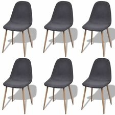 # 6 Dark Grey Fabric Upholstery Dining Chairs Iron Legs Kitchen Cafe Furniture