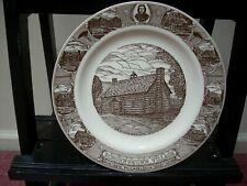 VTG Schoenbrunn Village New Philadelphia Ohio Brown Transfer Ware Souvenir Plate