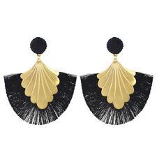 Fashion Fan-shape Gold Plated Alloy Button Thread Drop Dangle Earrings For Women