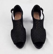 Women's Clarks Artisan Black Shoes Leather Ankle Strap Open Toe Heel Size 6 M