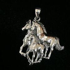 Southwest wild horses family Solid Sterling Silver Pendant- Horse Head Pendant