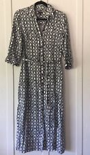 Talbots Shirt Dress Long Blue White  Belted Button up 3/4 sleeves Size 10 P M