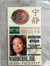 Serenity/Firefly Id Badge- Pilexecutive Officer Zoe Washburne