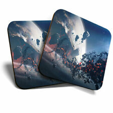2 x Coasters - Alien Sci-Fi Planet Space Gamer Home Gift #14034