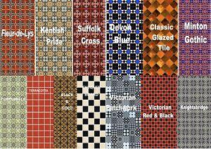Dolls House 1/12 Scale Self Adhesive Floor, Wall Tiles Minton & Vintage Free P&P