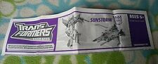 Transformers ANIMATED SUNSTORM INSTRUCTION BOOKLET
