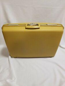 Vintage Samsonite Royal Traveller Yellow Hard Suitcase *With Key*