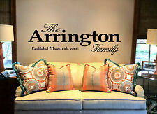 """36"""" Personalized Family Name  Decal Wall Decal vinyl lettering quote Palatino"""