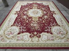 Old Hand Made French Design Wool 12x9 Maroon Red Original Aubusson 365X275cm
