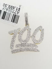 Real 10K Yellow Gold Genuine Diamonds 100 Emoji Iced Out Pendant Charm Unisex