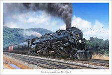 "Norfolk & Western Class A 1218 Railroad Art Print, Size 16"" x 24"""