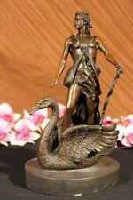 European Finery 100% Solid Bronze Art Deco Sculpture LEDA and SWAN Decorative