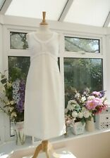 BODEN NEW WHITE LINEN & STRETCH JERSEY FITTED STYLE DRESS Sz 10 L