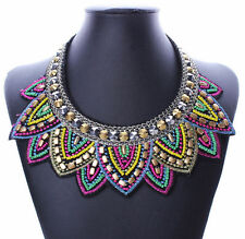 Pendant Chain Jewelry Women Bib Crystal Beaded Collar Necklace Choker