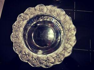 275mm Signed Lalique Bowl - Horfleur Pattern Geranium Leaf with Wide Rim Edge