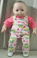"""Doll Clothes Baby Made2 Fit American Girl 15"""" Bitty Overalls Shirt Frogs Pink"""