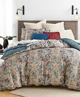 New Lucky Brand Alma Cotton Navy Full Queen Duvet Comforter Cover & Sham Bed Set