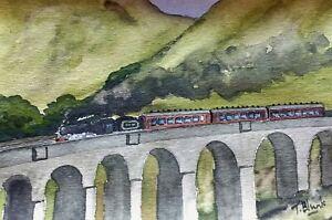 ORIGINAL AQUARELL - Dampfzug auf dem Glenfinnan Viadukt, Schottland