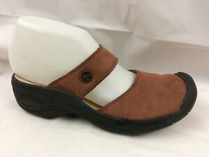 Keen Womens 7 M Brick Red Leather Mary Jane Mules Slip On Wedge Shoe Clog Casual