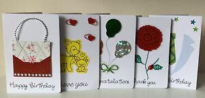 5 Quality Handmade Greetings Cards Occasions, Birthday, Thank You, Congrats