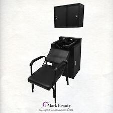 Black Shampoo Bowl in Cabinet, Reclining Chair & Upper Cabinet TLC-B11FC-TC-216