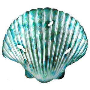 "New Large Aqua Blue Metal Sea Shell Seashell Scallop 19 1/2"" Metal Wall Art"
