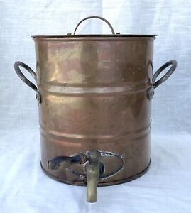 Antique/Vintage Solid Copper Water Cooler/Holder with Brass Spigot