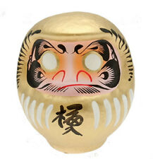 """Japanese 5.75""""H Gold Daruma Doll for Good Luck & Fortune, Made in Japan 590-063G"""