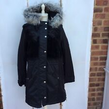 Lovely River Island Black Faux Fur Parka Coat - BNWT