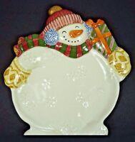 "Fitz & Floyd Classics Snowman Snowflakes Dimensional 11.5"" Serving Platter Tray"