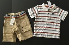 NWT Gymboree Construction Ahead 3 3T Stripe Mixer Polo & Belted Khaki Shorts