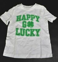 Old Navy Babies 4T St. Patricks Day Happy Go Lucky Short Sleeve T-Shirt White