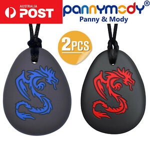 2PC Panny & Mody Red and Blue Skeleton Dragons Sensory Chew Necklace Autism ADHD
